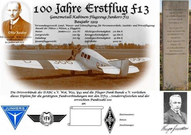 Diploma 100 Years of Junkers Air Transport